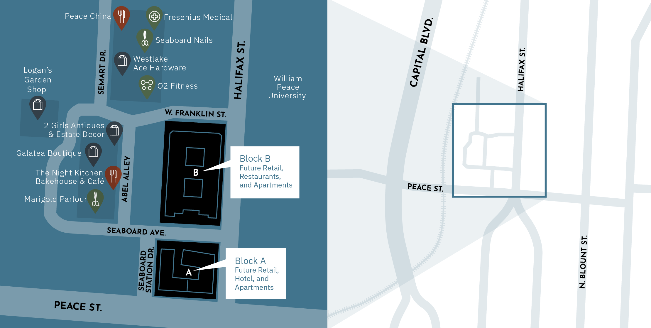 A map of Seaboard Station businesses